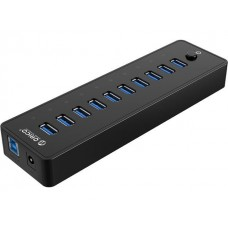 Powered USB Hub, 10 Ports 36W USB 3.0 Data Hub with 12V/3A Power Adapter for Computer